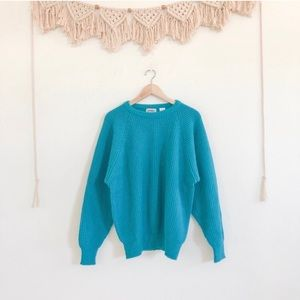 Vintage Sport Carriage Court Teal Blue Sweater